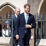 Ob Prinz Harry wohl nach der Ostermesse noch mit den anderen Royals weiterfeiert oder sofort wieder zu seiner hochschwangeren Meghan eilt?