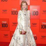 """Arianna Huffington ist die Mitgründerin des Online-Mediums """"Huffington Post"""". An dem Abend trägt ein beiges Kleid mit zahlreichen Verzierungen."""