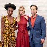 """7. April 2019: Pressekonferenz in Los Angeles  Vier Monate nachdem der Trailer veröffentlichte wurde, erschienen die """"Avengers: Endgame""""-Schauspieler Danai Gurira, Brie Larson und Paul Rudd zur Pressekonferenz in Los Angeles, USA."""