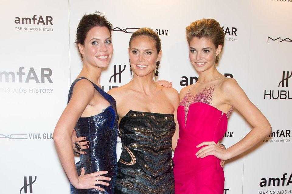 Im Februar 2012 steht Luisa Hartema zusammen mit Heidi Klum und Kandidatin Sarah-Anessa uf dem roten Teppich der New Yorker amfAR-Gala.
