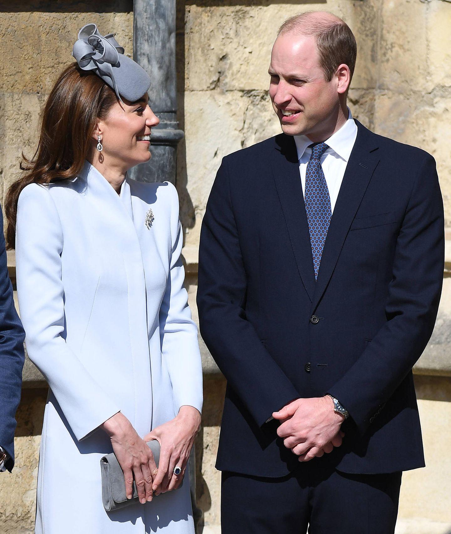 """21. April 2019  Am Ostersonntag besuchen Kate und William gemeinsam den traditionellen Gottesdienst in der """"St. George's Chapel"""" auf Schloss Windsor."""