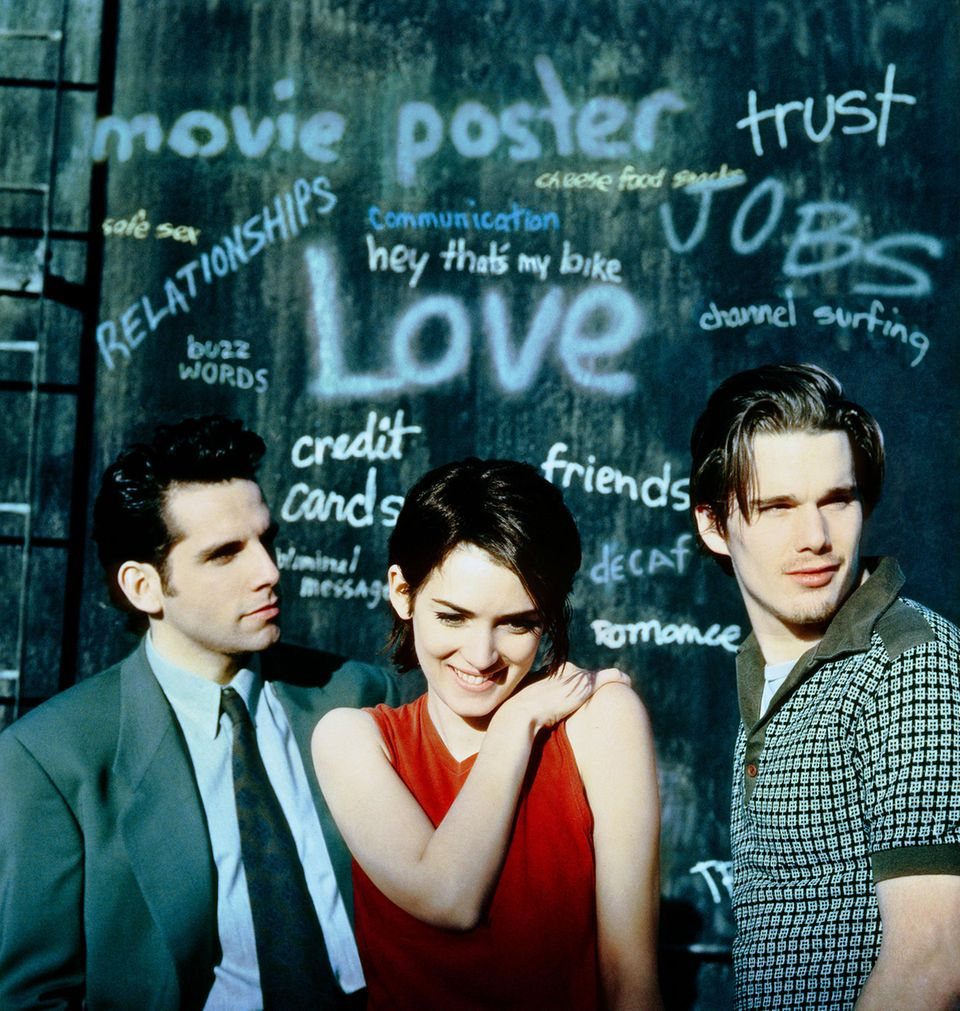 """Vor 25 Jahren ist der Kultfilm """"Reality Bites -Voll das Leben"""" mit Winona Ryder, Ethan Hawke und Ben Stiller, der auch Regie geführt hat, in die Kinos gekommen. Und mittlerweile sind die drei und ihre Filmkollegen auch wirklich mal erwachsen geworden."""