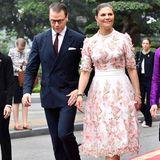Kronprinzessin Victoria und Prinz Daniel schreiten über den roten Teppich zum Empfang im Präsidentenpalast.