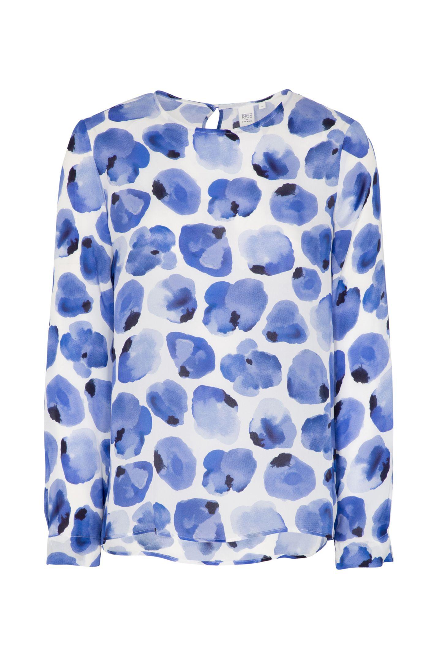 Elegant und vielseitig kombinierbar: Blusen-Shirtaus Seide mit floralem Print von Eterna. Ca. 119 Euro