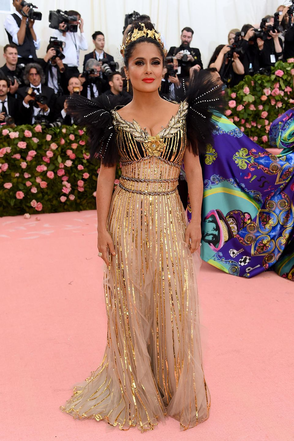 Gold-Göttin in Gucci: Salma Hayek