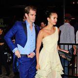 Nina Dobrevs Aftershow-Look istfast glamouröser als ihr Pink-Carpet-Dress. Andrew Garfield hat seinen blauen Frack anbehalten.