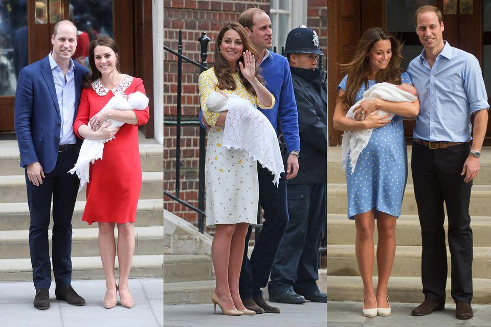 Herzogin Catherine und Prinz William mit ihren neugeborenen Kindern vor dem Lindo Wing: Prinz Louis im April 2018, mit Prinzessin Charlotte im Mai 2015 und mit Prinz George im Juli 2012.