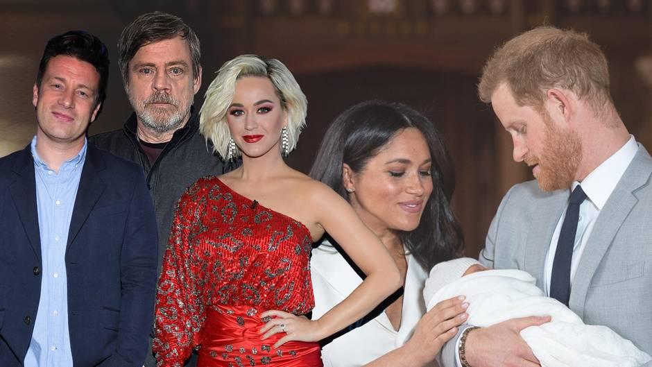 Jamie Oliver, Mark Hamill, Katy Perry, Herzogin Meghan, Prinz Harry und Archie Harrison Mountbatten-Windsor