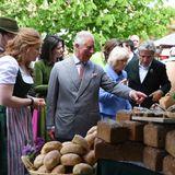 10. Mai 2019, Tag 4 des Deutschland-Besuches  Am letzten Tag ihrer Deutschland-Reise besuchen Prinz Charles und Herzogin Camilla den Bio-Bauernhof Herrmannsdorfer Landwerkstätten in München.