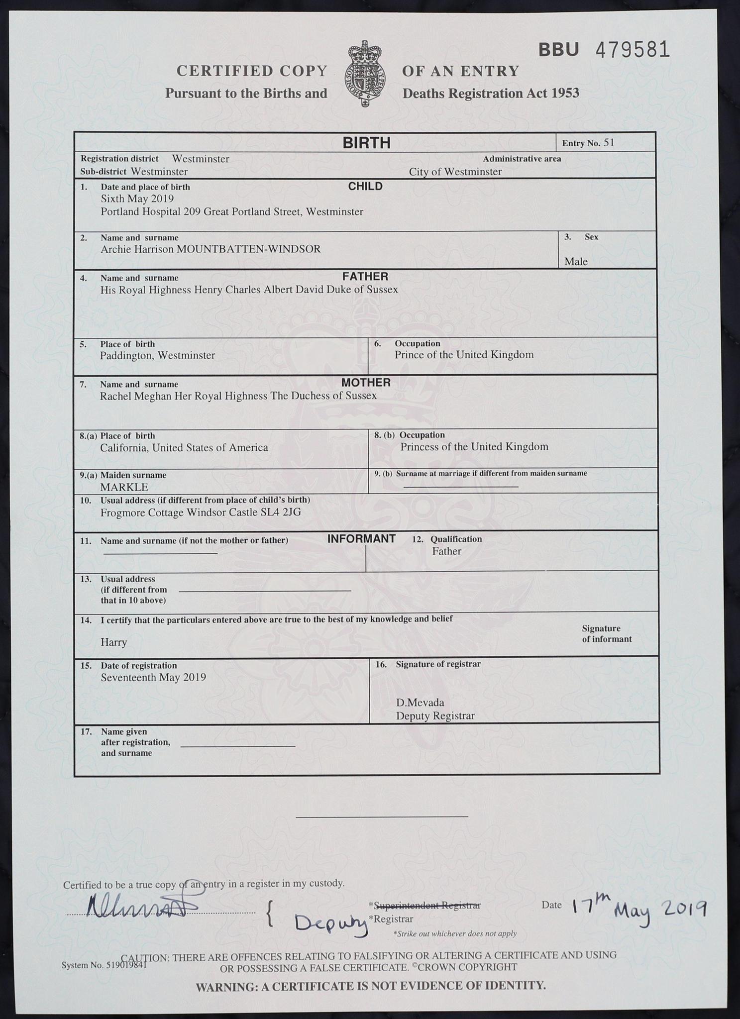 Die Geburtsurkunde von Archie Mountbatten-Windsor