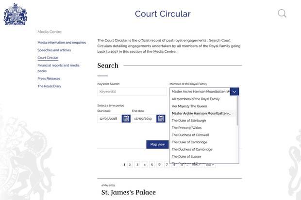 Website der britischen Königsfamilie