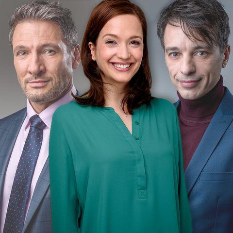 """""""Sturm der Liebe""""-Trio: Christoph (Dieter Bach), Eva (Uta Kargel) und Robert Saalfeld (Lorenzo Patané)"""