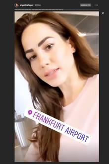 Auch Angelina Heger postete, dass sie am Frankfurter Flughafen ist.