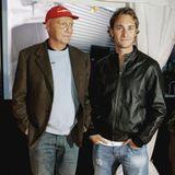 Sein 1981 geborener Sohn Mathias Lauda (r.) ist ebenfalls Rennfahrer. Von 2006 bis 2009 fährt er in der DTM für Mercedes-Benz.