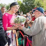 20. Mai 2019  Königin Máxima und König Willem-Alexander werden vor demSchweriner Schloss herzlich begrüßt.