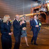 21. Mai 2019  Während in den MV Werften in Rostockweitergearbeitet wird, lassen sich Königin Máxima und König Willem-Alexander alles genau erklären.