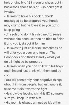 Praktische Infos für seine neue Freundin