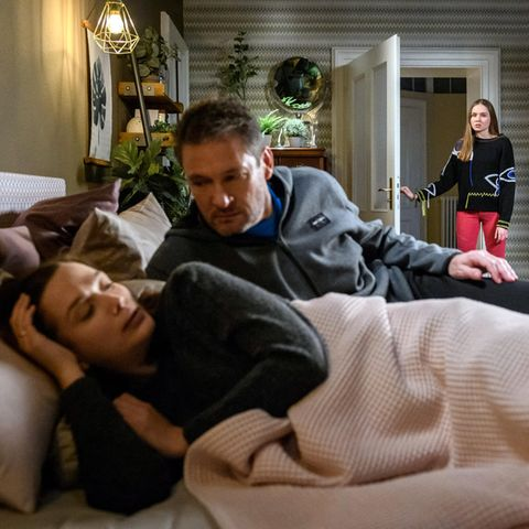 """""""Sturm der Liebe"""": Christoph Saalfeld (Dieter Bach) und Eva Saalfeld (Uta Kargel) werden von Valentina Saalfeld (Pauline Hobratschk)"""