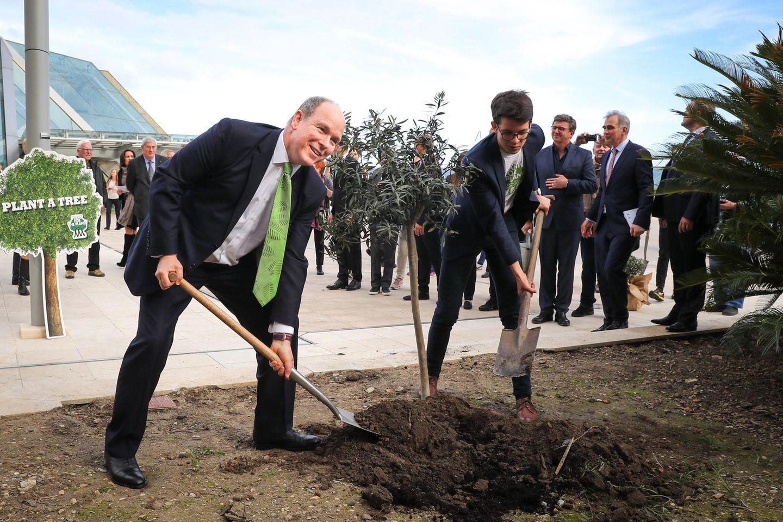 """Im Rahmen der """"Plant Ahead - A Trillion Trees For Our Future""""-Kampagne pflanzt Fürst Albert symbolisch einen Olivenbaum in Monte Carlo."""