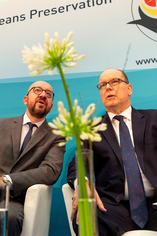 In Brüssel nimmt Fürst Albert (r.) an einerKonferenz zum Thema Klimawandel teil.