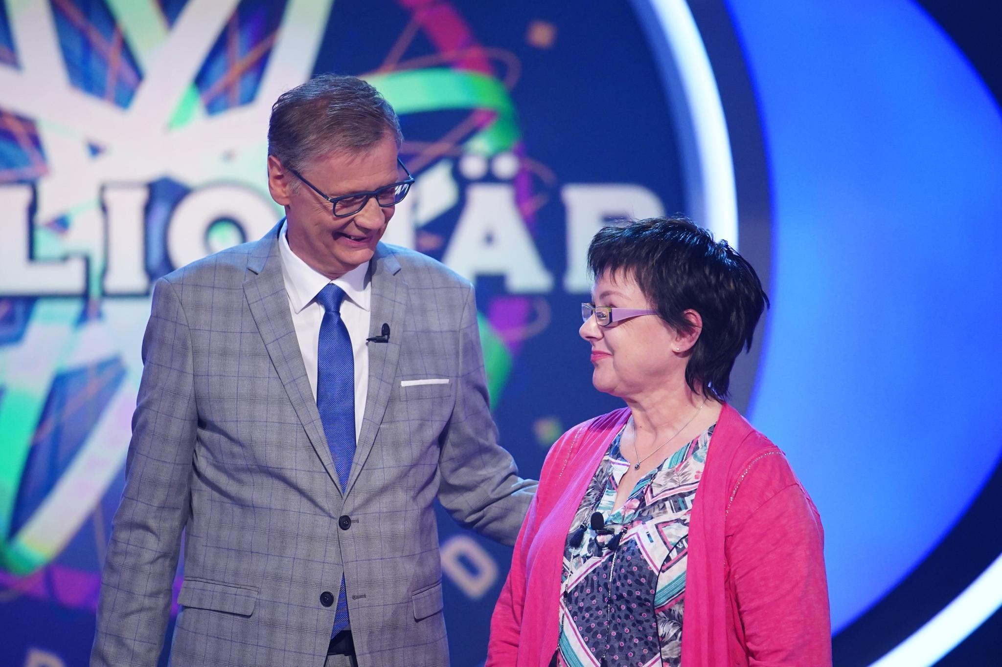 Moderator Günther Jauch mitKandidatin Ellen Marquardt