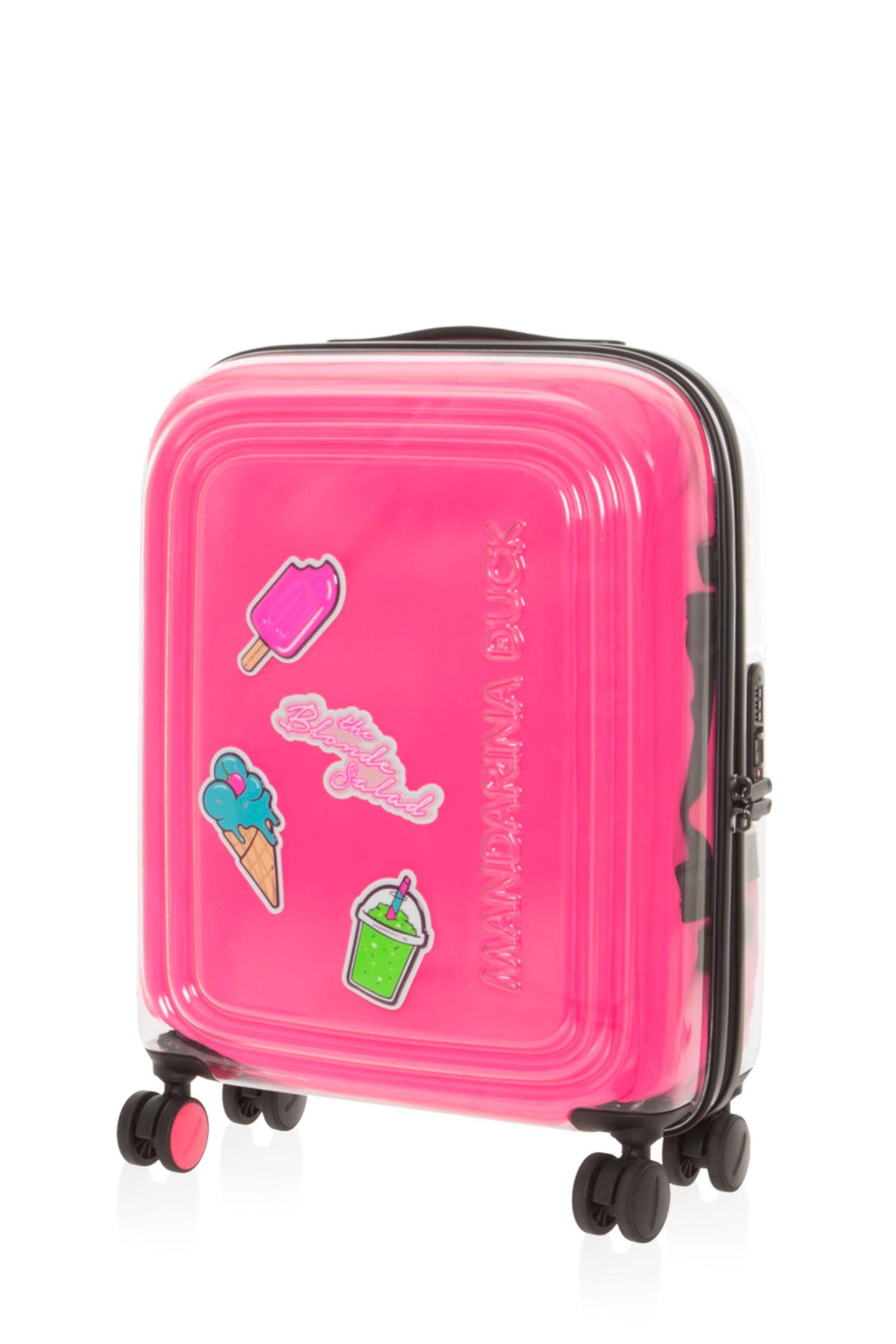 """Ich packe meinen Koffer...und was schlussendlich darin landet, ist eigentlich egal, wenn die Hülle so klasse aussieht wie diese Limited Edition in Neonpink mit Aufklebern. """" Popsicle TBS Fluo Trolley"""" von Mandarina Duck, ca. 220 Euro"""