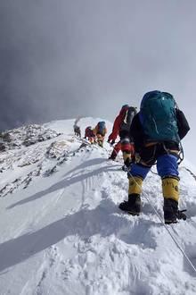 Bergsteiger auf dem Mount Everest