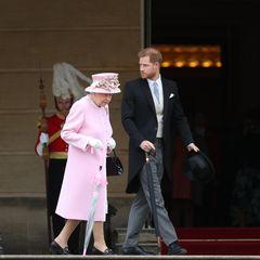 29. Mai 2019  Queen Elizabeth wird an diesem Nachmittag von ihrem Enkel, Prinz Harry, begleitet.