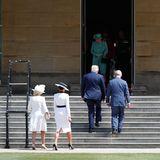Vorne: Herzogin Camilla und Melania Trump. Mitte: Donald Trump und Prinz Charles. Hinten: Queen Elizabeth