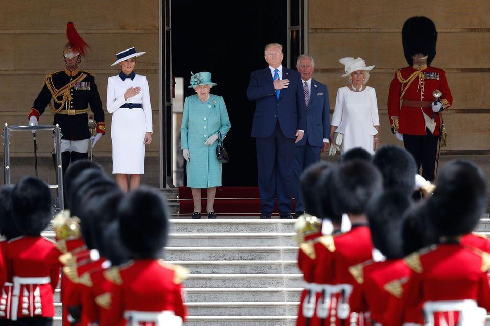 Melania Trump, Queen Elizabeth, Donald Trump, Prinz Charles und Herzogin Camilla