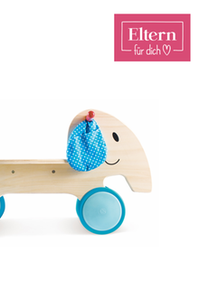 Große Freude für die Kleinstenverspricht die neue Spielzeugkollektion vom Eltern-Magazin. Rutschelefant Emma aus Holz, ca. 50 Euro überhapetoys.eu