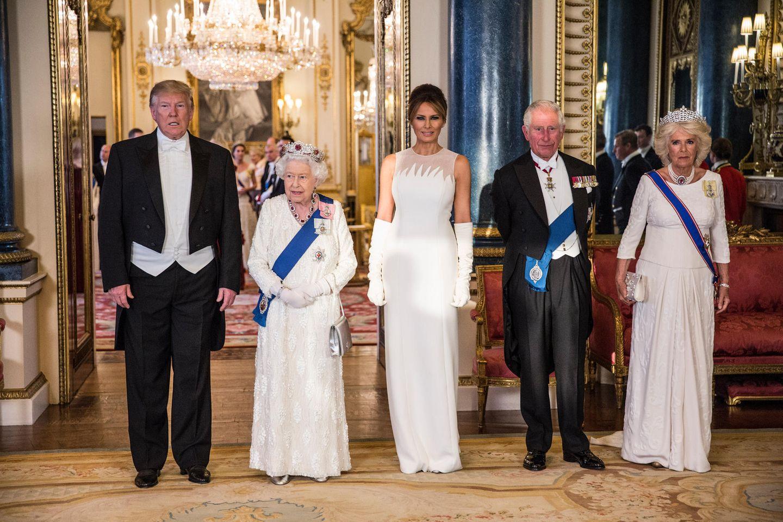 Donald Trump, Queen Elizabeth, Melania Trump, Prinz Charles., Herzogin Camilla