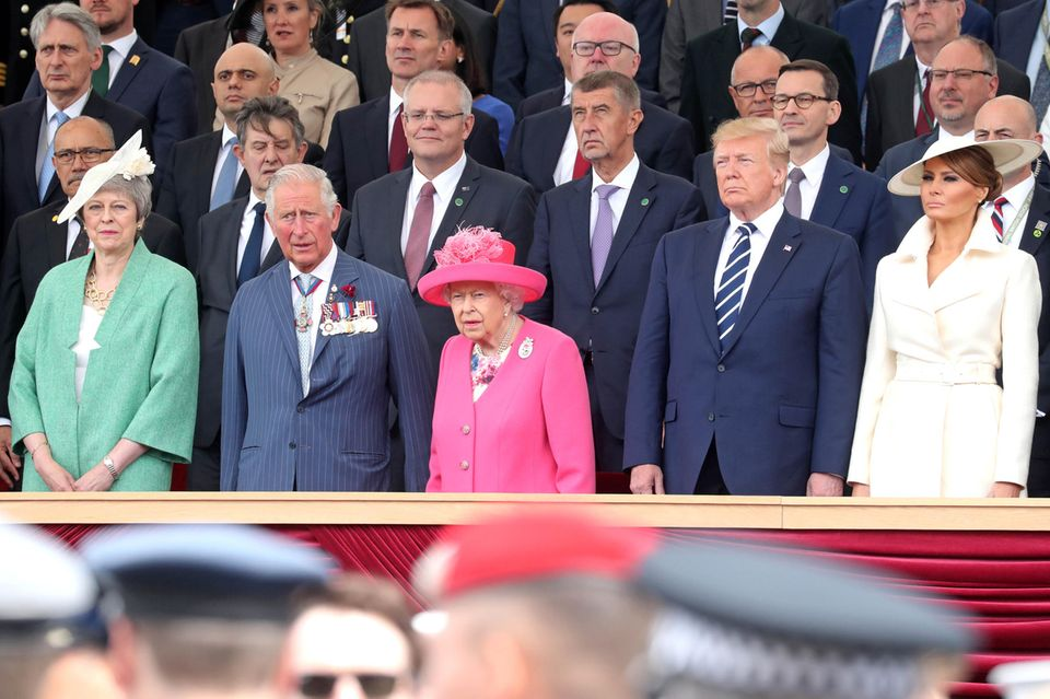 Theresa May, Prinz Charles, Queen Elizabeth, Donald Trump, Melania Trump