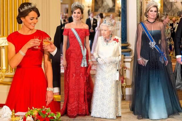 Herzogin Catherine setzt bei ihrem allerersten Staatsbankett auf Rot, sowie auch Königin Letizia in 2017. Königin Máxima wählt hingegen einen hübschen Farbverlauf.