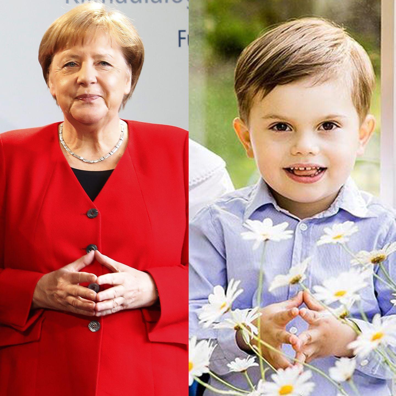 ... Angela Merkel! Die Bundeskanzlerin hat ihre immer gleiche Handhaltung mittlerweile zu ihrem Markenzeichen gemacht. Prinz Oscar scheint ihr dieses nun aber jetzt ein kleines bisschenstrittig machen zu wollen.
