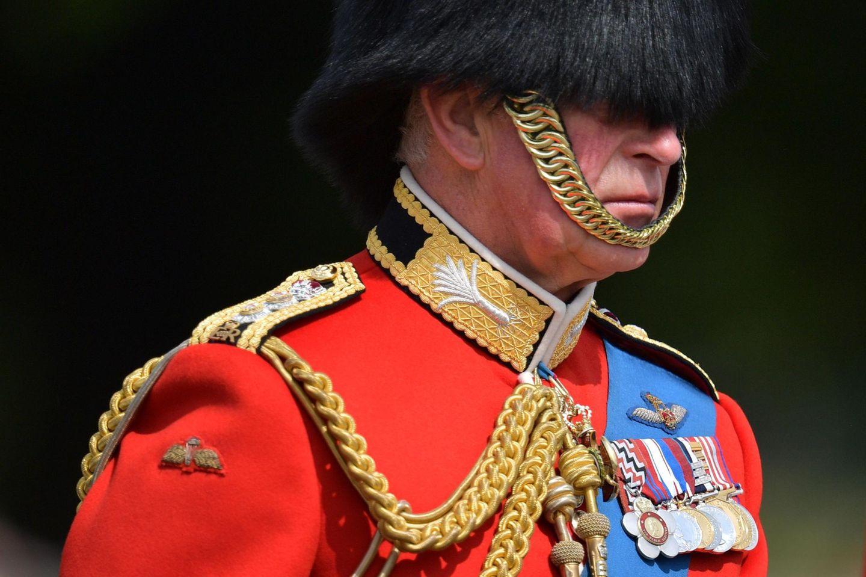 In seiner Uniform mit der traditionellen Bärenfellmütze muss Prinz Charles genau aufpassen, um nicht den Überblick zu verlieren.
