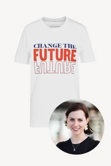 """Mode mit Message: Kathrin kürt das """"Change the Future""""-Shirt zu ihrem Liebling des Monats Juni."""