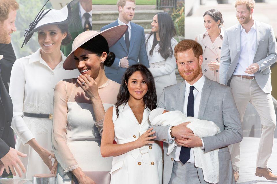 Herzogin Meghan strahlt vor Liebesglück. Ihre hellen Kleider und die pudrigen Töne passen da perfekt.