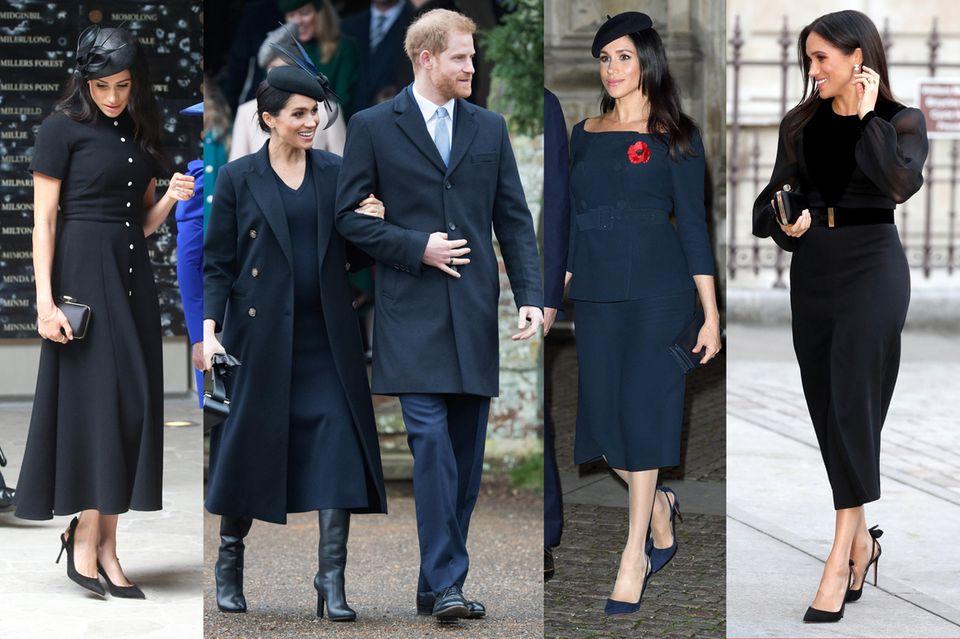 Besonders bei offiziellen Anlässen an der Seite der Queen setzt Meghan gerne auf dunkle Töne und Schwarz. Ein Zeichen für ihr angespanntes Gemüt?