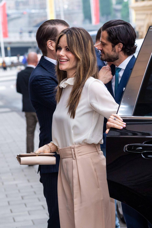 """Prinzessin Sofia kommt mit Ehemann Prinz Carl Philip und ihrem Schwager Prinz Daniel zu der Kreativveranstaltung """"Brilliant Minds""""."""