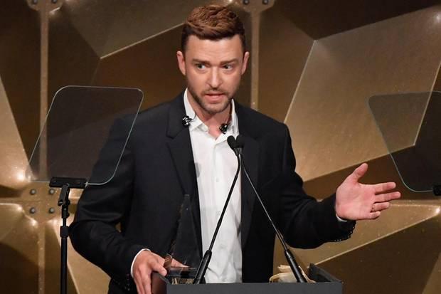 """Justin Timberlake bei seiner Rede anläßlichder jährlichen Songwriter-Zeremonie der """"Hall of Fame"""" in New York"""