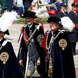 An der Prozession nehmen auch König Felipe und König Willem-Alexander teil, schließlich sind sie ab sofort auch Mitglieder im exklusivsten Orden Großbritanniens.