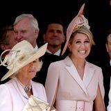 """Königin Máxima und Herzogin Catherine scheinen beim """"Garter Day"""" viel Spaß zu haben, Herzogin Camilla hingegen wirkt bedrückt."""
