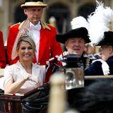 Auch das niederländische Königspaar darf in einer der königlichen Kutschen Platz nehmen.