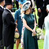 Je schlichter das Kleid, desto auffälliger die Kopfbedeckung - das muss sich Prinzessin Eugenie an Tag 3 in Ascot gedacht haben und erscheint in Dunkelgrün.