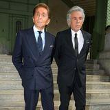 Designer Valentino Garavani und der italienische Geschäftsmann Giancarlo Giammetti nehmen von dem geschätzten Kollegen Lagerfeld Abschied.