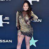 Lala Anthony im sehr knappen Kleid von Galia Lahav. Ihre High Heels sind von Jimmy Choo