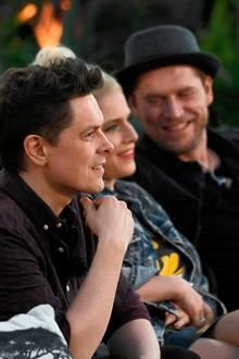 Michael Patrick Kelly (l.), Jeanette Biedermann und Johannes Oerding