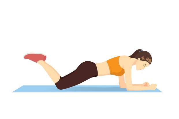 In der Knie-Plank wird die Becken-Muskulatur besonders herausgefordert.