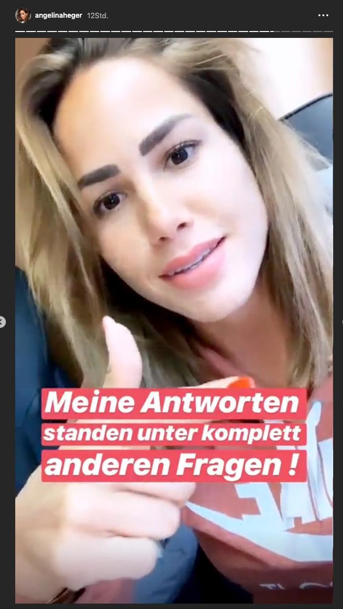 Angelina Heger erklärt den Fauxpas in ihrer Instagram-Story
